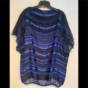 Blue and black ruffle blouse